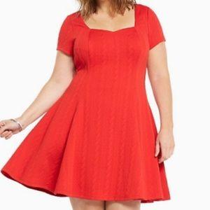 Torrid Red Textured Knit Skater Dress